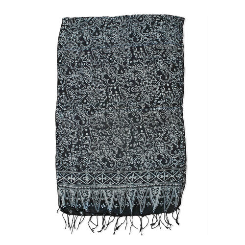 Floral Pattern Black and Grey Colour Original Silk Scarf (Size 150x45 Cm)