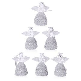(Option 2) Set Of 6 Home Decor - Silver Colour Glittering Six Glass Wave Dress Angel in a Box (Size 15.5x14.5x4 Cm)