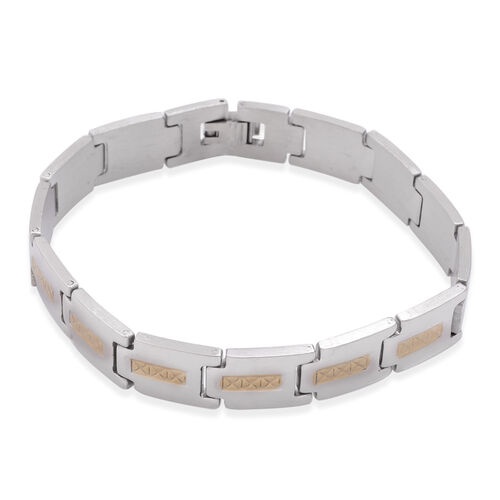 Close Out Deal White Gold Plated Bracelet in Stainless Steel (Size 8)