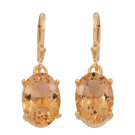 Rare Size AAA Uruguay Citrine (Ovl) Lever Back Earrings in 14K Gold Overlay Sterling Silver 10.000 Ct.