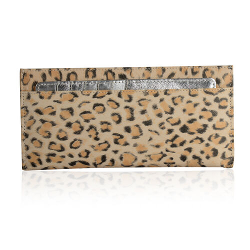 Genuine Leather RFID Blocker Leopard Printed Wallet  (Size 20x8 Cm) with Card Holder