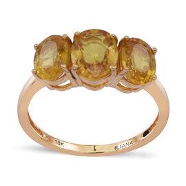 ILIANA 18K Y Gold Yellow Sapphire (Ovl 1.75 Ct) 3 Stone Ring 3.750 Ct.