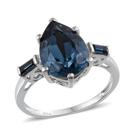 Crystal from Swarovski - Montana Crystal (Pear 4.75 Ct) Ring in Platinum Overlay Sterling Silver 5.000 Ct.