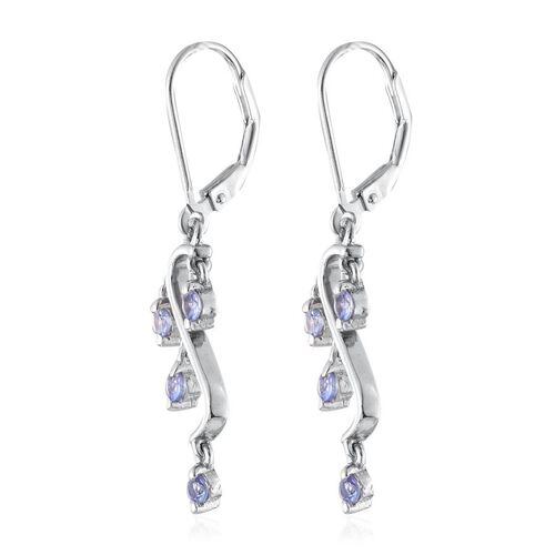 Tanzanite (Rnd) Lever Back Earrings in Platinum Overlay Sterling Silver 0.500 Ct.