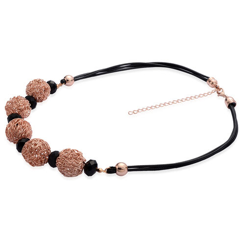 Simulated Black Spinel Necklace (Size 18) in Rose Gold Tone