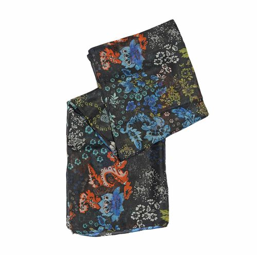 100% Mulberry Silk Black, Blue and Multi Colour Floral Hand Screen Printed Scarf (Size 180X50 Cm)