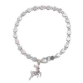 Reindeer Christmas Charm Silver Bracelet in Platinum Overlay Size 7.5, Silver wt 5.48 Gms.