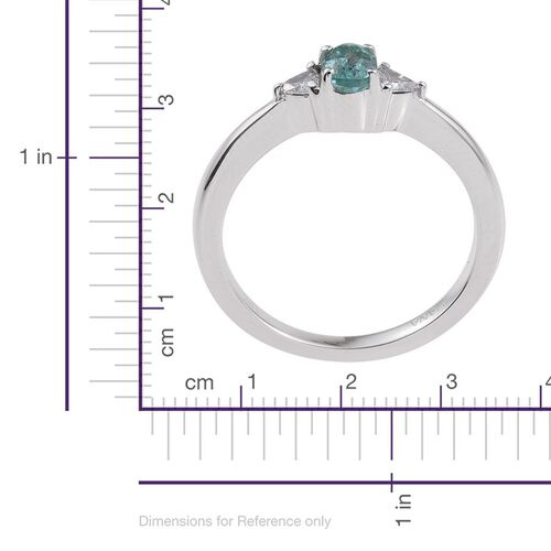 ILIANA 18K White Gold Mozambique Paraiba Tourmaline (Ovl 0.55 Ct), Diamond (SI G-H) Ring 0.750 Ct.