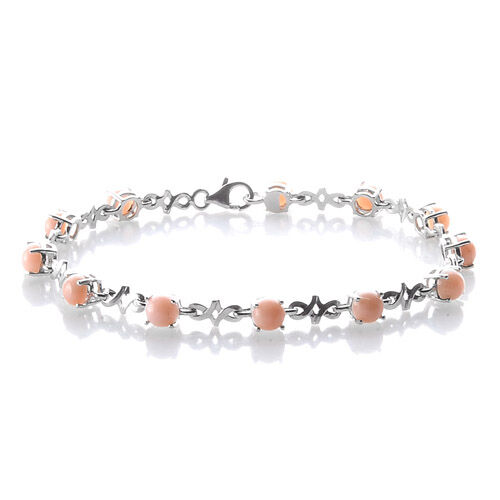 Peruvian Pink Opal Platinum Overlay Sterling Silver Bracelet (Size 7.5) 4.58 Ct.