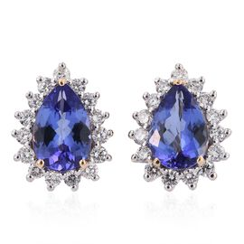 ILIANA 18K Yellow Gold 3.50 Carat AAA Tanzanite Halo Studs With Diamond SI G-H
