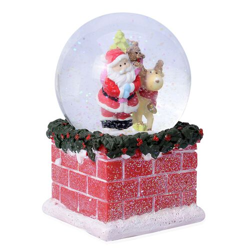 Home Decor - Santa Glitter Musical Globe with Tree and Red Brick Base