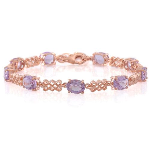 Rose De France Amethyst (Ovl) Bracelet (Size 7.5 with 1.5 inch Extender) in 14K Rose Gold Overlay Sterling Silver 10.000 Ct.