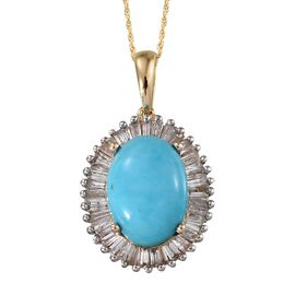 9K Y Gold Arizona Sleeping Beauty Turquoise (Ovl 5.00 Ct), Diamond Pendant With Chain 6.000 Ct.