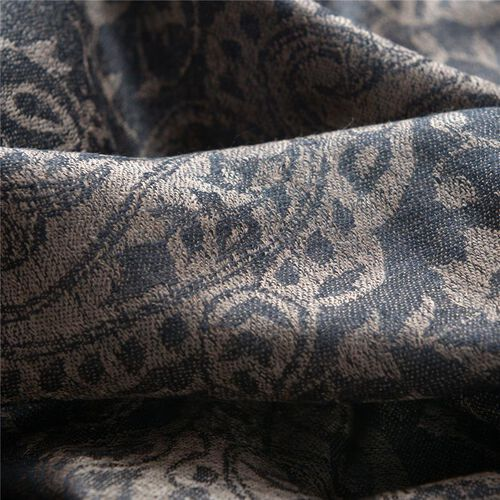 88% Merino Wool and 12% Silk Jacquard Weaving Paisley and Leaf Pattern Chocolate and Black Colour Scarf (Size 200x70 Cm), Weight 66 Gram