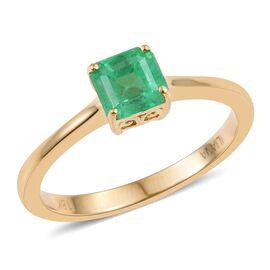 ILIANA 18K Yellow Gold 1 Carat Boyaca Colombian Emerald Octagon Solitaire Ring.