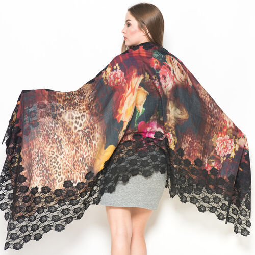 Hand Knitted - (50% Mulberry Silk and 50% Merino Wool) Multi Colour Leopard and Floral Pattern Black Colour Scarf with Nylon Floral Lace Border (Size 170x75 Cm)