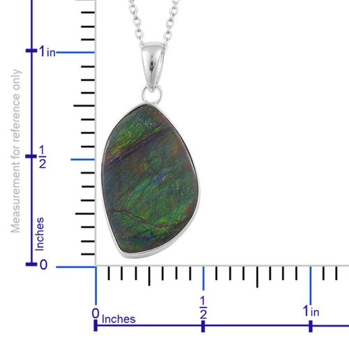 (Option 3) Canadian Ammolite Pendant With Chain in Rhodium Plated Sterling Silver 14.783 Ct.