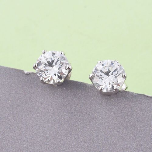 J Francis - Platinum Overlay Sterling Silver (Rnd) Stud Earrings (with Push Back) Made with SWAROVSKI ZIRCONIA. Stone Size 6mm