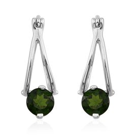 Russian Diopside (Rnd) Earrings in Platinum Overlay Sterling Silver 1.500 Ct.