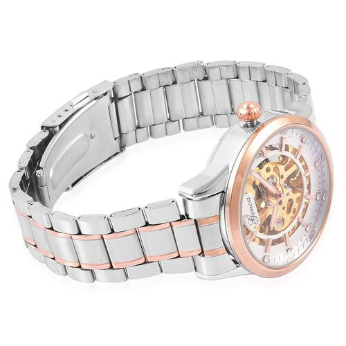 GENOA Automatic Skeleton White Austrian Crystal Studded White Dial Water Resistant Watch in Silver and Rose Gold Tone with Chain Strap