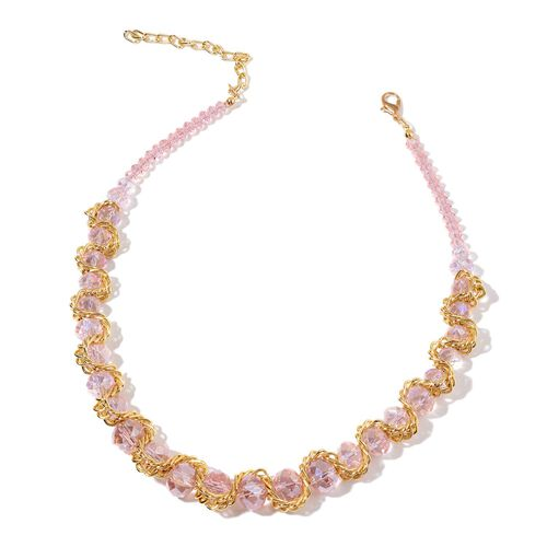 Simulated Pink Sapphire Necklace (Size 20 with 2 inch Extender) and Stretchable Bracelet (Size 7.50) in Gold Tone