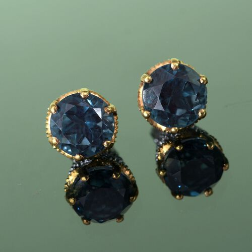 Indicolite Quartz (Rnd) Stud Earrings (with Push Back) in Platinum and Yellow Gold Overlay Sterling Silver 5.000 Ct.