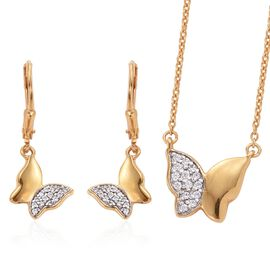 J Francis - 14K Gold Overlay Sterling Silver (Rnd) Butterfly Necklace (Size 18) and Butterfly Lever Back Earrings Made with SWAROVSKI ZIRCONIA