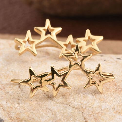 14K Gold Overlay Sterling Silver Star Climber Earrings. Silver wt 3.21 Gms.