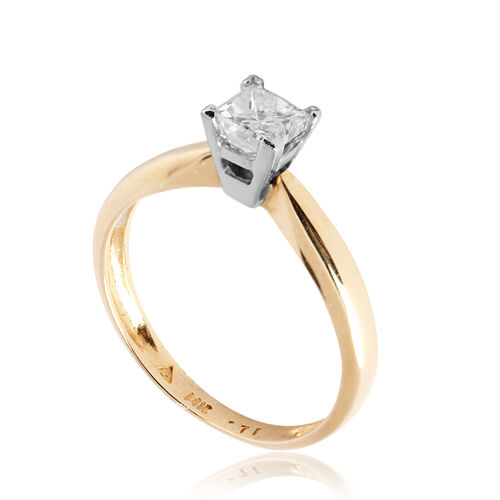 14K Y Gold Diamond Solitaire Ring 1.080 Ct.