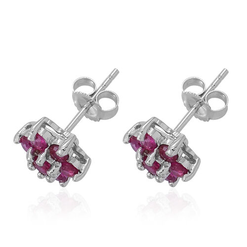9K W Gold Burmese Ruby (Rnd) Floral Stud Earrings (with Push Back) 1.000 Ct.