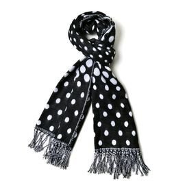 Black and White Colour Dots Pattern Scarf with Tassels (Size 170x60 Cm)