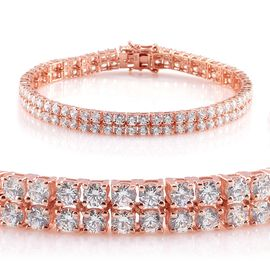 J Francis - Rose Gold Overlay Sterling Silver (Rnd) Bracelet (Size 8) Made with SWAROVSKI ZIRCONIA