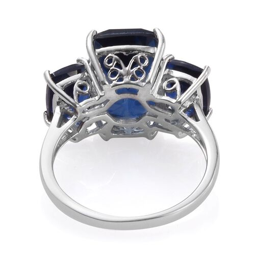 Ceylon Colour Quartz (Cush 7.50 Ct) 3 Stone Ring in Platinum Overlay Sterling Silver 10.750 Ct.