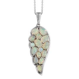 AA Ethiopian Welo Opal (Pear) Wings Pendant With Chain in Platinum Overlay Sterling Silver 2.750 Ct.