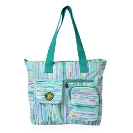 Designer Inspired Green and Multi Colour Printed Hand Bag With External Pocket (Size 32x32x12 Cm)