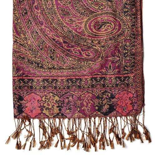 Gold and Multi Colour Fern Pattern Pink Colour Scarf with Tassels (Size 170x65 Cm)