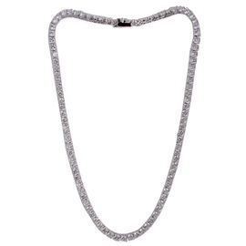 Close Out Deal AAA Simulated Diamond (Rnd) Necklace (Size 18) in Silver Bond