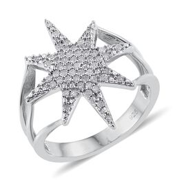 Diamond Star Silver Ring 0.33 Carat in Platinum Overlay.