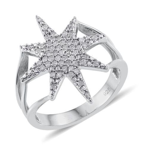 Diamond Star Silver Ring 0.33 Carat in Platinum Overlay.