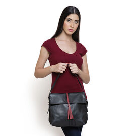 Genuine Leather Black Colour Shoulder Bag with Shoulder Strap