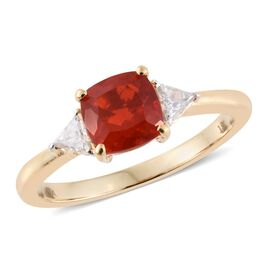 ILIANA 18K Y Gold AAA Jalisco Fire Opal (Cush 1.10 Ct), Diamond (SI/G-H) Ring 1.300 Ct.