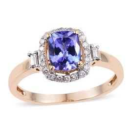 14K Y Gold Tanzanite (Cush 1.30 Ct), Diamond Ring 1.650 Ct.