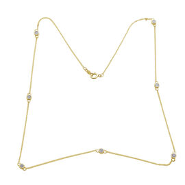 9K Y Gold SGL Certified Diamond (Rnd) (I3/G-H) Station Necklace (Size 22) 0.500 Ct.