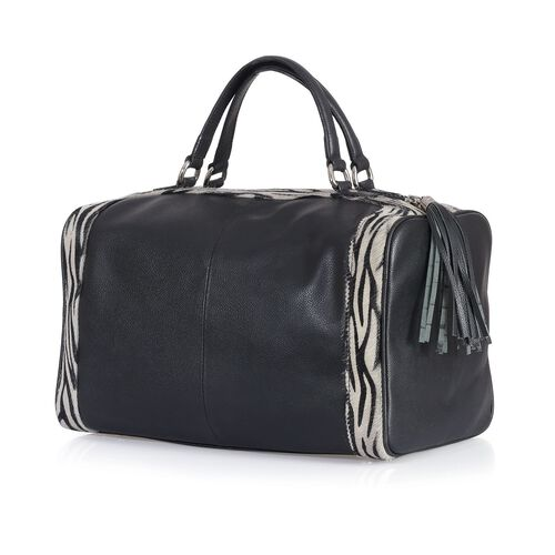 Mayfair Genuine Leather Zebra Pattern Weekend Travel Bag (Size 32x26x15 Cm)
