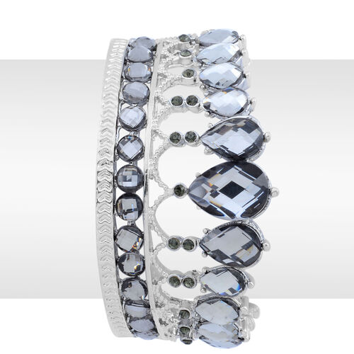Grey Austrian Crystal Bangle with Simulated Stone (Size 7.5) in Silver Tone
