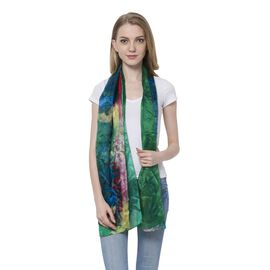 100% Mulberry Silk Red, Purple, Yellow and Multi Colour Forest Pattern Green Colour Scarf (Size 170x110 Cm)
