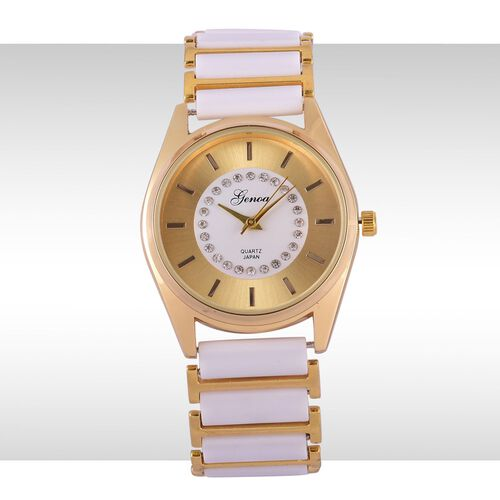 GENOA Japanese Movement White Austrian Crystal Studded Golden Dial Water Resistant Watch in Gold Tone with Stainless Steel Back and White Ceramic Strap