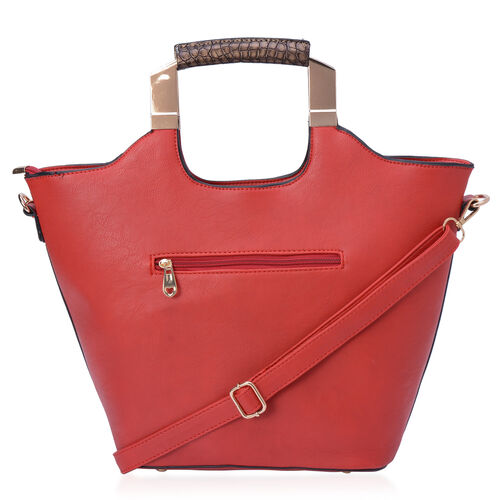 Red and Chocolate Colour Croc Embossed Tote Bag with External Zipper Pocket and Adjustable and Removable Shoulder Strap (Size 43.5x13.5x27 Cm)