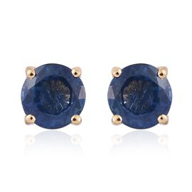 ILIANA 18K Yellow Gold 1.25 Carat Kanchanaburi Blue Sapphire Round Solitaire Stud Earrings with Screw Back.