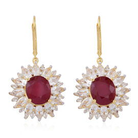 African Ruby (Ovl), White Topaz Lever Back Earrings in 14K Gold Overlay Sterling Silver 17.000 Ct.